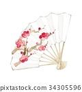 水彩畫 日本扇子 水彩 34305596