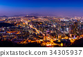 Seoul cityscape and Seoul tower at night.  34305937