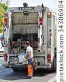 Garbage truck at work 34306904