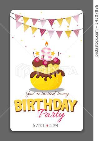 Birthday Party Invitation Card Template Vector - Stock ...