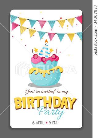 Birthday Party Invitation Card Template Vector Stock