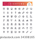 Fighting Line Icons Set 34308165