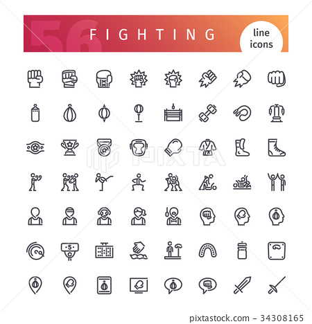 Fighting Line Icons Set 34308165