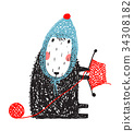 Cute Knitting Little Sheep in Knitted Hat 34308182