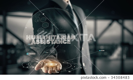Humanitarian Assistance with hologram businessman 34308483