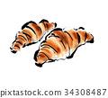 크로와상, 빵, 아침 34308487