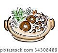 燉湯 鍋裡煮好的食物 手繪 34308489