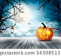 Scary Halloween background with pumpkin 34308513