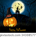 Halloween spooky background 34308577