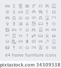 big collection of home furniture icons 34309338