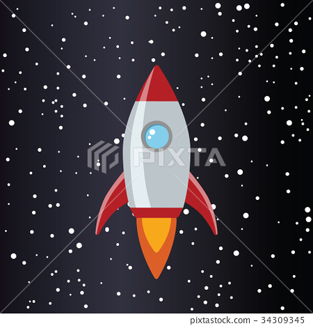 rocket in space with stars 34309345