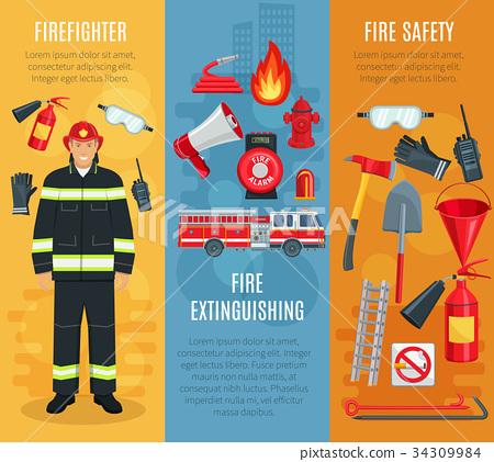 Firefighting vector banners set of fireman tools 34309984