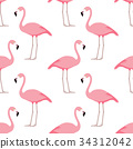 flamingo, pattern, vector 34312042