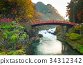 Shinkyo Bridge during autumn in Nikko, Japan 34312342