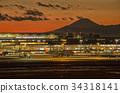 【도쿄 황혼] 하네다 공항 국내선 제 1 터미널에서 석양 후지산 34318141