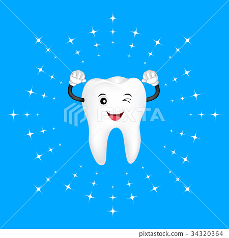 Whitening tooth, cute cartoon character design. 34320364
