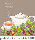 cup of schisandra tea and teapot 34321108
