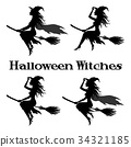 Witch Flying on Broom 34321185
