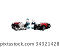 An old fashionable toy car and two ceramic dolls. 34321428