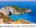 Navagio beach from  Shipwreck view in Zakynthos  34322024
