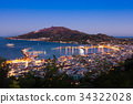 Aerial night view of Zakynthos city in Greece 34322028