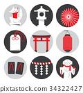 Vector Japanese iconic symbols and shrine objects 34322427