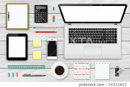 Office and business work elements vector set 34322653