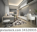 luxury and modern living room with leather sofa 34326935