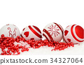 christmas background with balls and red garlande 34327064