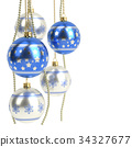 glossy blue christmas bulbs isolated on white 34327677