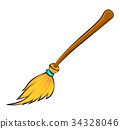halloween broomstick vector symbol icon design.  34328046