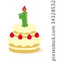生日蛋糕圖(1歲) 34328532