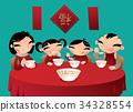 Chinese family enjoys sweet rice-flour dumplings 34328554