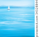 Vector blue sea  and yacht, mountains  background. 34328844