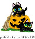万圣节 南瓜 黑猫 34329139