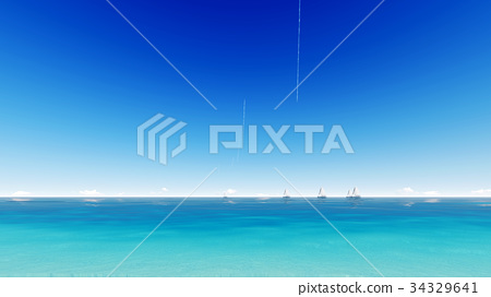 Sailing boat clear blue sea. 3D render. 34329641