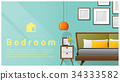 Interior design with Modern bedroom background  34333582