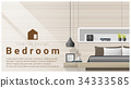 Interior design with Modern bedroom background  34333585