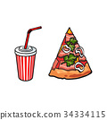 pizza, vector, fastfood 34334115