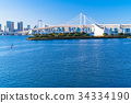 東โตเกียว風景ทิวทัศน์ที่มองเห็นสะพานสายรุ้งโอไดบะ 34334190