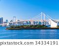 東โตเกียว風景ทิวทัศน์ที่มองเห็นสะพานสายรุ้งโอไดบะ 34334191