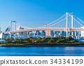 東โตเกียว風景ทิวทัศน์ที่มองเห็นสะพานสายรุ้งโอไดบะ 34334199