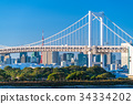 東โตเกียว風景ทิวทัศน์ที่มองเห็นสะพานสายรุ้งโอไดบะ 34334202