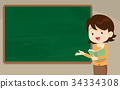 Young woman Teacher in front of chalkboard 34334308