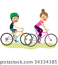 Bicycle Son And Mother 34334385