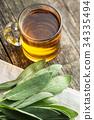 Sage tea and leaves. 34335494