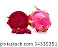 Dragon fruit isolated on white background 34339351