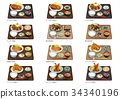Meat, fried food set meal 2 34340196
