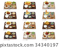 Meat, fried food set meal 3 34340197