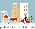 Sale winter couple walking around the city 34340744